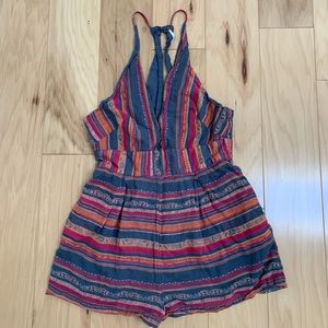 Free People Blue Striped Sleeveless Romper